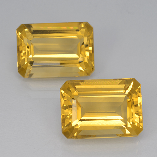 Medium Gold Citrine Gem - 7.1ct Octagon Step Cut (ID: 500919)