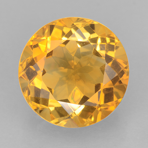 Deep Orange-Gold Citrina Gema - 6.1ct Faceta Redonda (ID: 501258)
