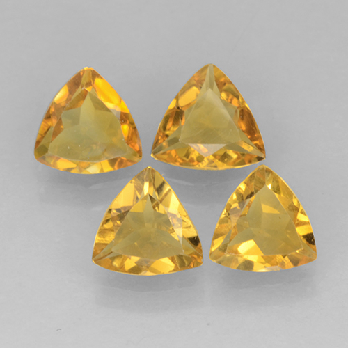 Yellow Golden Citrine Gem - 0.3ct Trillion Facet (ID: 501281)