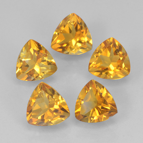 Dark Golden Citrina Gema - 0.4ct Forma trillón (ID: 501290)