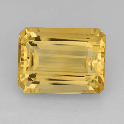 Bright Gold Citrine Gem - 12.3ct Octagon Step Cut (ID: 503451)