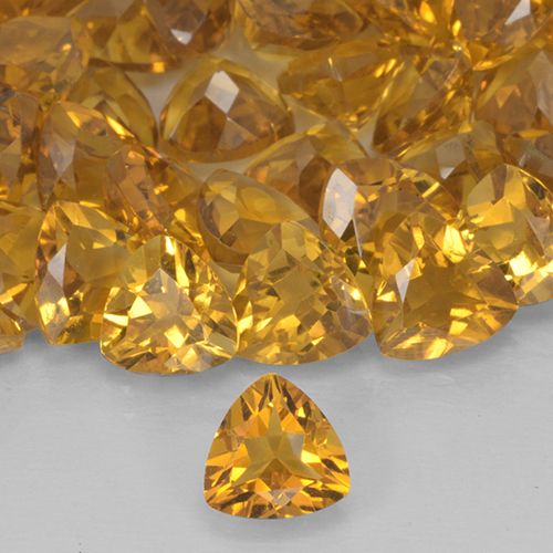 0.68 ct Trillion Facet Dark Golden Citrine Gemstone 6.15 mm x 6 mm (Product ID: 503725)