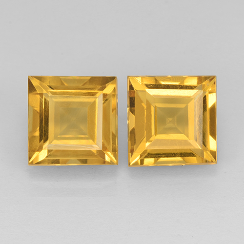 Yellow Golden Citrine Gem - 2.3ct Square Step-Cut (ID: 503747)