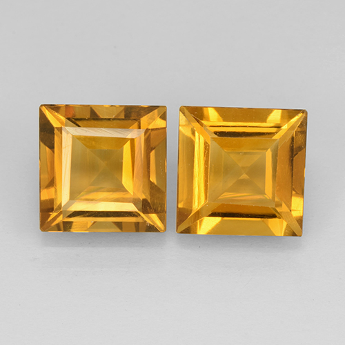 Yellow Golden Citrine Gem - 2.1ct Square Step-Cut (ID: 503748)