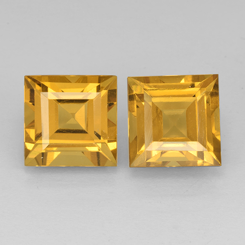 Yellow Golden Citrine Gem - 2.6ct Square Step-Cut (ID: 503750)