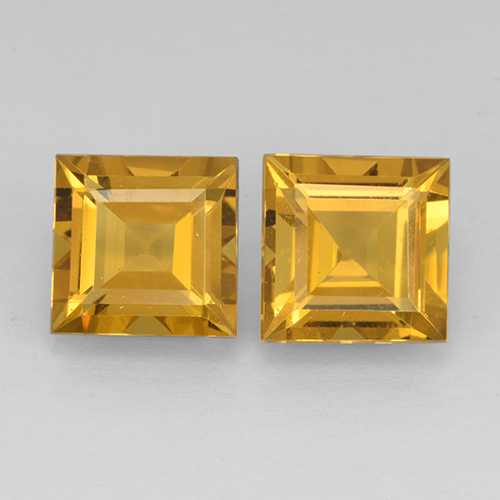 Deep Golden Orange Citrina Gema - 2.3ct Corte cuadrado step (ID: 503753)