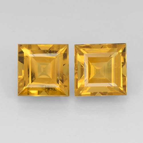 Yellow Golden Citrine Gem - 2.4ct Square Step-Cut (ID: 503755)