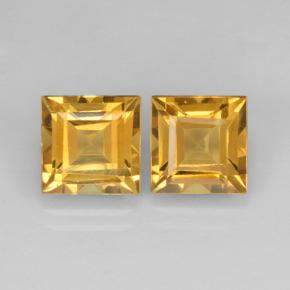 Yellow Golden Citrine Gem - 2.3ct Square Step-Cut (ID: 503759)
