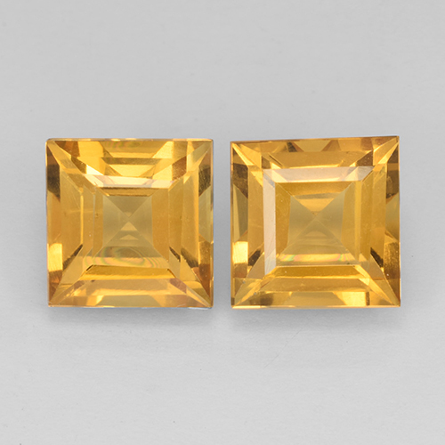 Medium-Dark Golden Citrine Gem - 2.1ct Square Step-Cut (ID: 503760)