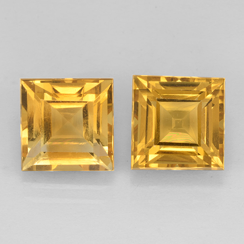 Yellow Golden Citrine Gem - 2.4ct Square Step-Cut (ID: 503761)