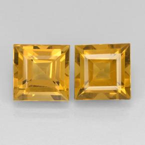 Dark Golden Citrine Gem - 2.4ct Square Step-Cut (ID: 503762)
