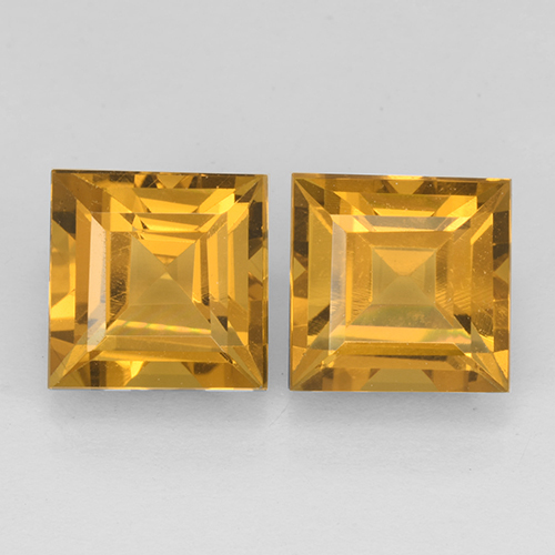Yellow Golden Citrine Gem - 2.6ct Square Step-Cut (ID: 503763)