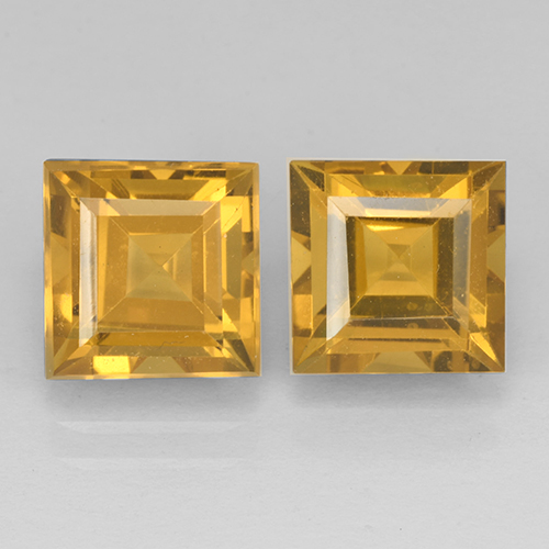 Yellow Golden Citrine Gem - 2.5ct Square Step-Cut (ID: 503766)