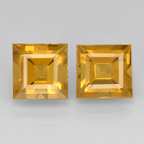 Yellow Golden Citrine Gem - 2.5ct Square Step-Cut (ID: 503767)