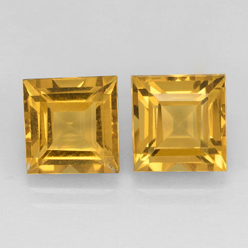Yellow Golden Citrine Gem - 2.3ct Square Step-Cut (ID: 503768)