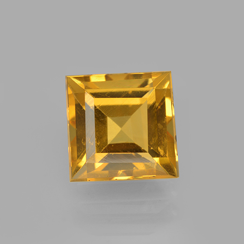 Yellow Golden Citrine Gem - 2.6ct Square Step-Cut (ID: 503996)