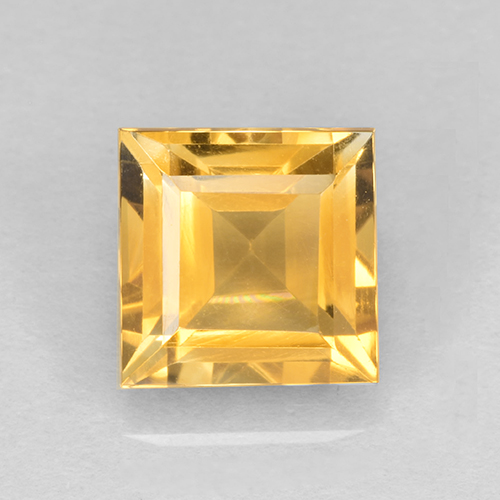 2.6ct Square Step-Cut Yellow Golden Citrine Gem (ID: 504089)
