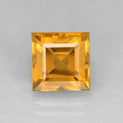 2.6ct Square Step-Cut Yellow Golden Citrine Gem (ID: 504593)