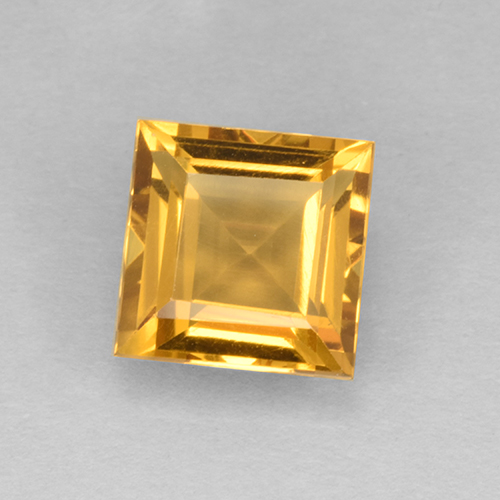 2.4ct Carré taillée en degrés Orange-Gold Citrine gemme (ID: 504595)