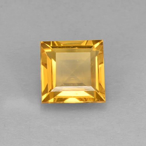 Yellow Golden Citrine Gem - 2.2ct Square Step-Cut (ID: 504607)