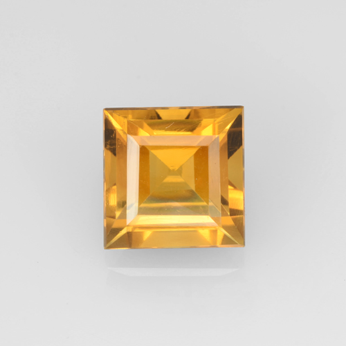 2.2ct Carré taillée en degrés Orange-Gold Citrine gemme (ID: 504659)