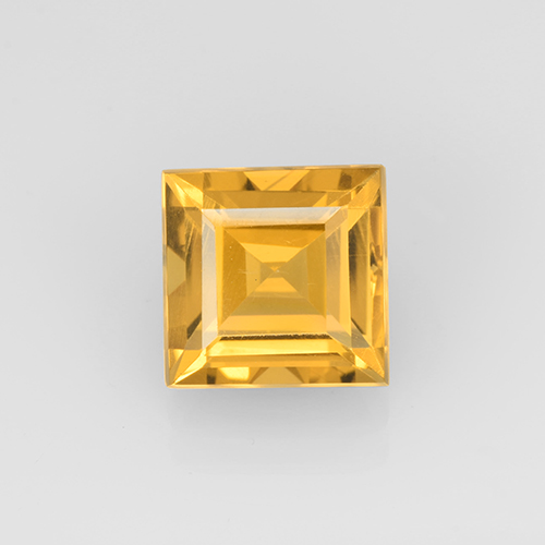 2.3ct Carré taillée en degrés Orange-Gold Citrine gemme (ID: 504660)