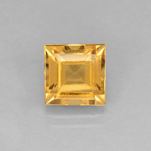 2.6ct Square Step-Cut Yellow Golden Citrine Gem (ID: 504675)