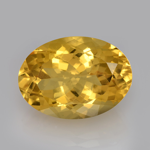 Yellow Golden Citrine Gem - 12.6ct Oval Facet (ID: 504811)