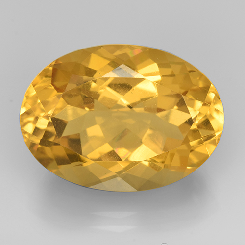 Medium Golden Citrina Gema - 12.1ct Forma ovalada (ID: 504825)