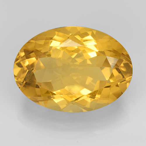 Medium Gold Citrine Gem - 11.2ct Oval Facet (ID: 504842)