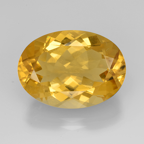 Medium Golden Citrine Gem - 10.6ct Oval Facet (ID: 504865)