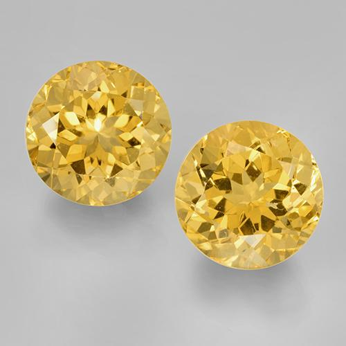 Yellow Golden Citrine Gem - 8.3ct Round Facet (ID: 505038)