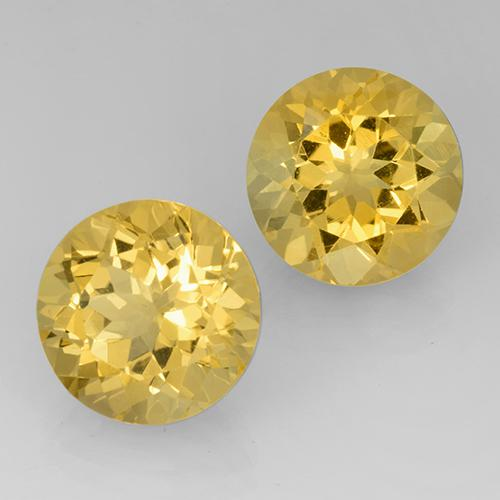 Yellow Golden Citrine Gem - 7.4ct Round Facet (ID: 505152)