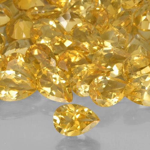 0.64 ct Pear Facet Medium Golden Citrine Gem 7.07 mm x 5.1 mm (Photo A)