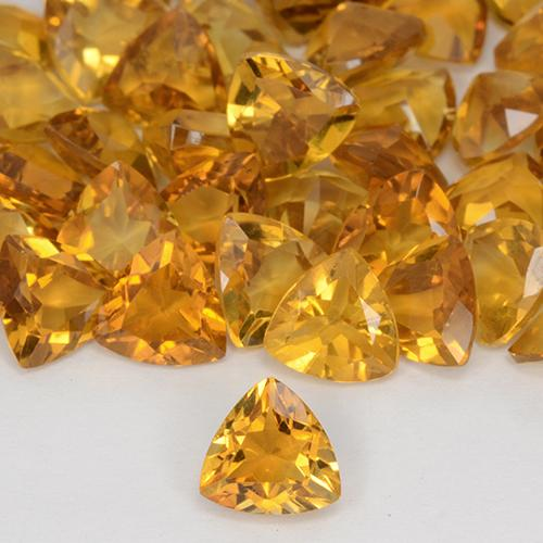 Dark Orange-Gold Citrine Gem - 0.6ct Trillion Facet (ID: 510887)