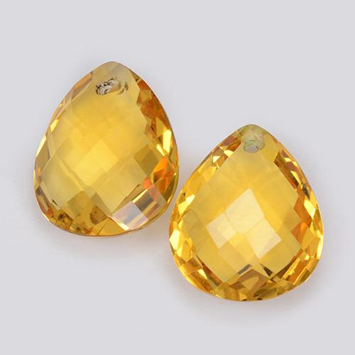 3.7ct Pear Checkerboard with Hole Yellow Golden Citrine Gem (ID: 511078)
