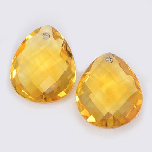 Yellow Golden Citrine Gem - 3.6ct Pear Checkerboard with Hole (ID: 511079)