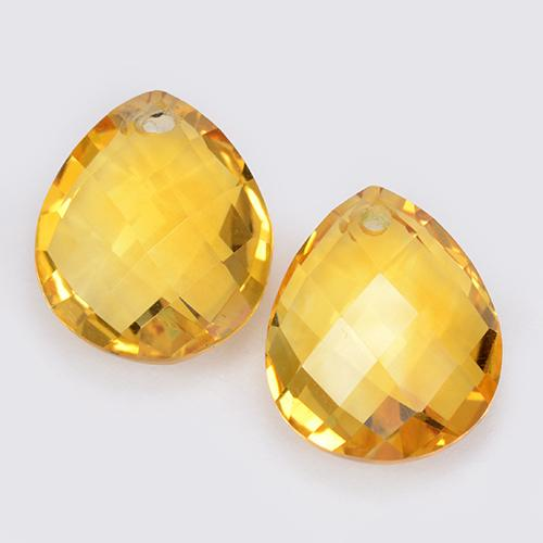 Yellow Golden Citrine Gem - 4ct Pear Checkerboard with Hole (ID: 511081)