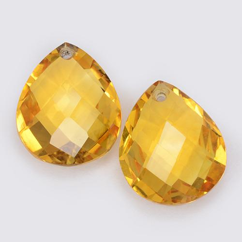 3.6ct Pear Checkerboard with Hole Yellow Golden Citrine Gem (ID: 511082)