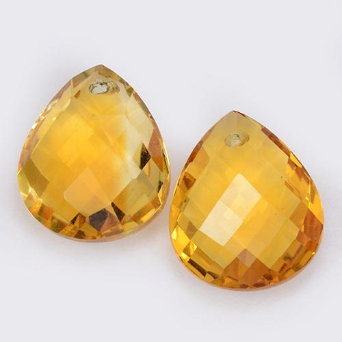 Yellow Golden Citrine Gem - 3.7ct Pear Checkerboard with Hole (ID: 511083)
