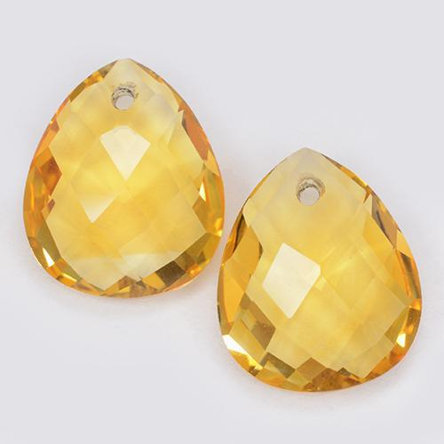 Yellow Golden Citrine Gem - 3.5ct Pear Checkerboard with Hole (ID: 511084)