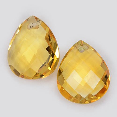 Yellow Golden Citrine Gem - 3.8ct Pear Checkerboard with Hole (ID: 511086)