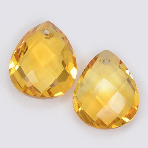 Yellow Golden Citrine Gem - 3.3ct Pear Checkerboard with Hole (ID: 511087)
