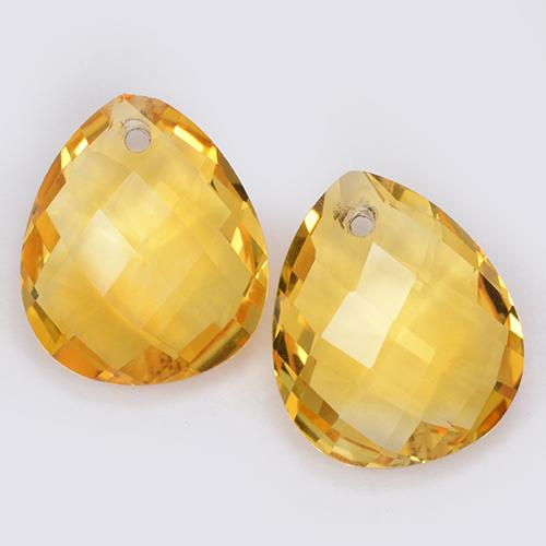 Golden Orange Citrine Gem - 3.5ct Pear Checkerboard with Hole (ID: 511088)