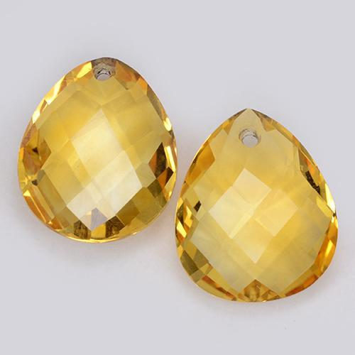 Medium Golden Citrine Gem - 3.8ct Pear Checkerboard with Hole (ID: 511089)