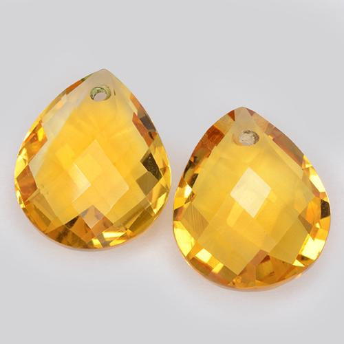 イエローゴールデン シトリン Gem - 3.6ct Pear Checkerboard with Hole (ID: 511093)