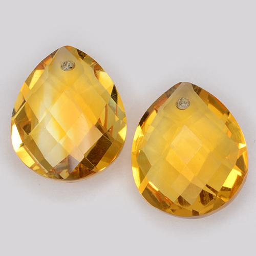 Dark Golden Citrine Gem - 3.8ct Pear Checkerboard with Hole (ID: 511094)