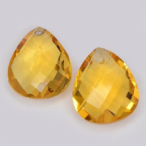 Yellow Golden Citrine Gem - 3.3ct Pear Checkerboard with Hole (ID: 511095)