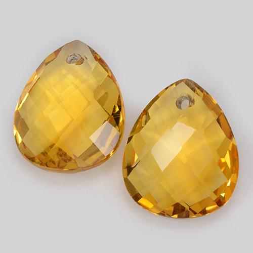 Dark Golden Citrina Gema - 3.6ct Pera checkerboard con orificio (ID: 511096)
