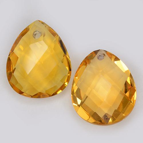 Deep Golden Orange Citrine Gem - 3.8ct Pear Checkerboard with Hole (ID: 511097)